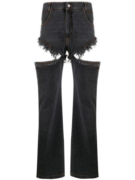 Хлопковые черные джинсы бойфренды с нашивками на молнии Telfar