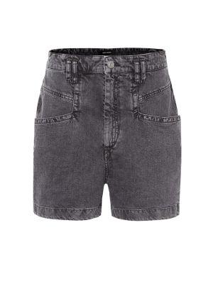 Хлопковые однобортные черные джинсовые шорты со стразами Isabel Marant