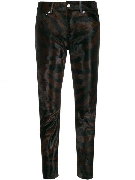 Черные кожаные укороченные брюки с карманами Golden Goose