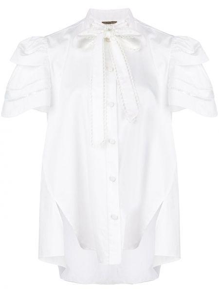 Хлопковый белый топ с вышивкой на пуговицах Adam Lippes
