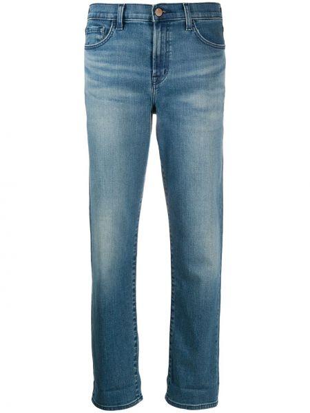 Классические хлопковые синие укороченные джинсы на молнии J Brand