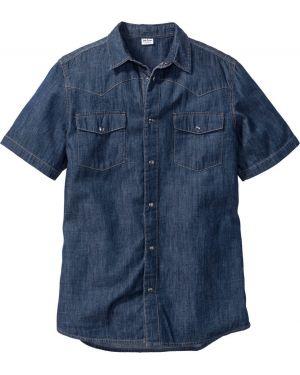 Рубашка на кнопках темно-синий Bonprix