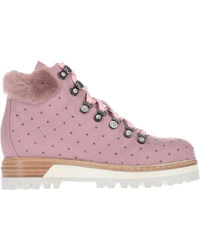 Кожаные ботинки осенние розовый Le Silla