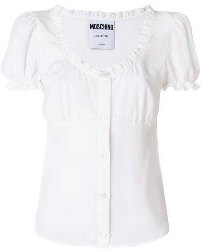 Белая блузка с поясом Moschino