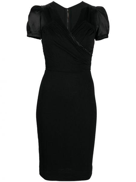 Черное с рукавами шелковое платье Dolce & Gabbana Pre-owned