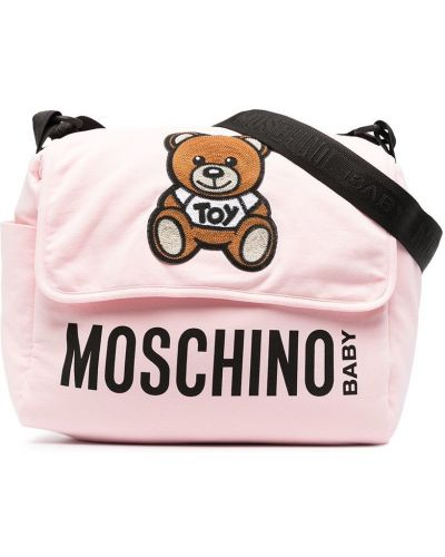 Хлопковый розовый ранец с карманами Moschino Kids