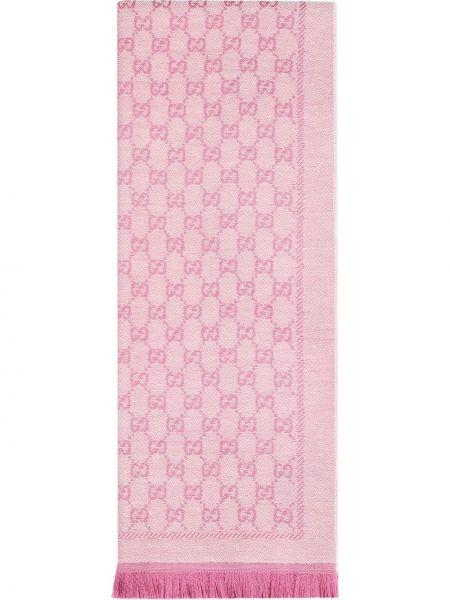 Różowy szalik wełniany Gucci
