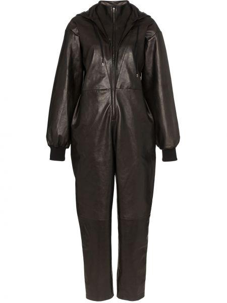 Кожаный черный комбинезон с карманами Montana
