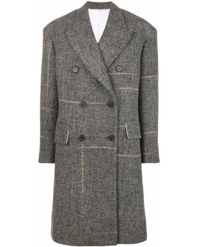 Серое шерстяное пальто классическое с капюшоном Calvin Klein 205w39nyc