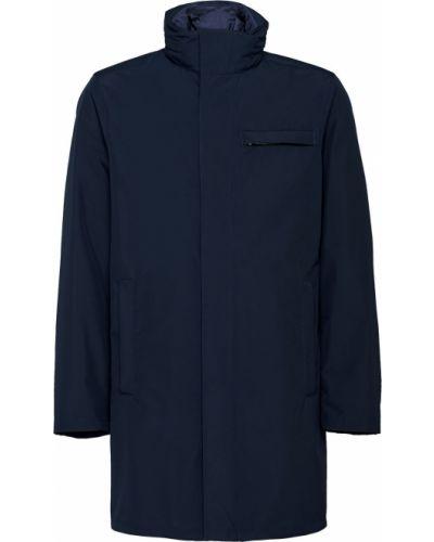 Niebieski z rękawami płaszcz przeciwdeszczowy od płaszcza przeciwdeszczowego z kieszeniami Prada