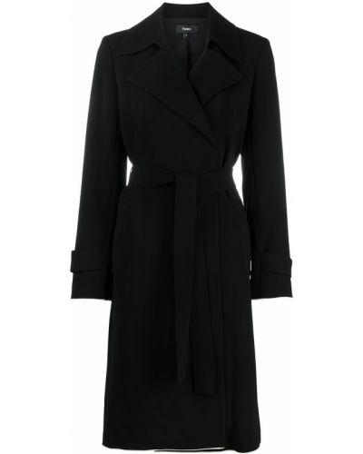 С рукавами черное длинное пальто с поясом Theory