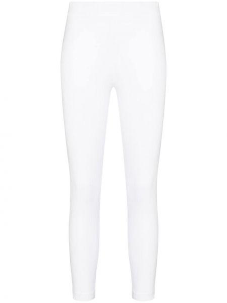 Кожаные белые леггинсы эластичные с высокой посадкой Skin