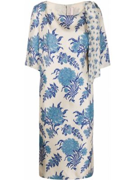 Niebieska sukienka mini krótki rękaw z jedwabiu Antonio Marras