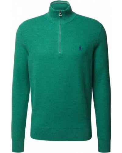 Prążkowana bluza bawełniana turkusowa Polo Ralph Lauren