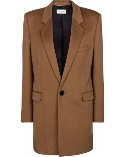 Коричневое кашемировое пальто Saint Laurent