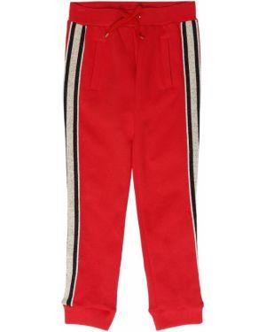 Красные спортивные брюки с люрексом с завязками Little Marc Jacobs