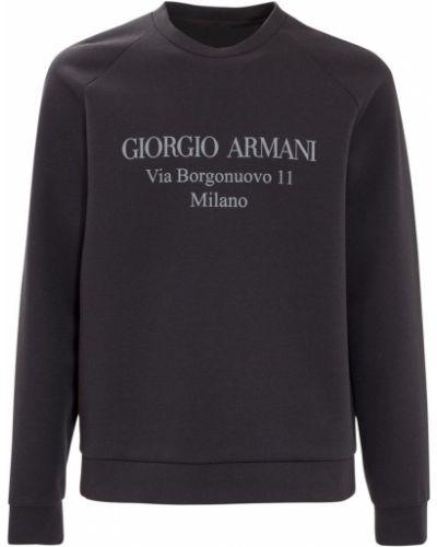 Niebieska bluza z nadrukiem z printem Giorgio Armani