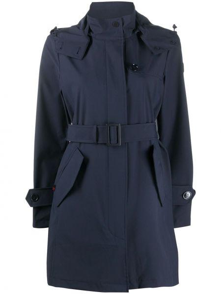 Шерстяное пальто с капюшоном с поясом айвори на пуговицах Woolrich