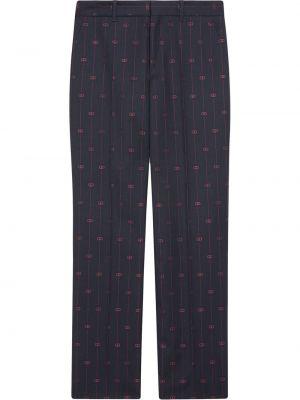 Niebieski wełniany szerokie spodnie z kieszeniami bezpłatne cięcie Gucci