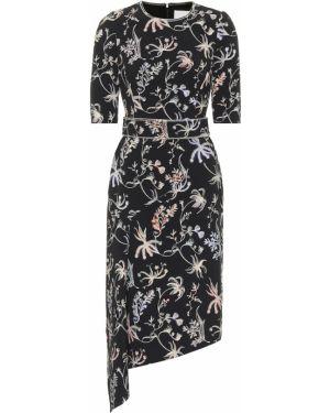 Платье миди с цветочным принтом черное Peter Pilotto