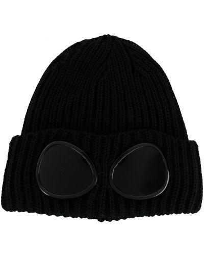 Шерстяная черная шапка бини в рубчик с отворотом Cp Company Kids