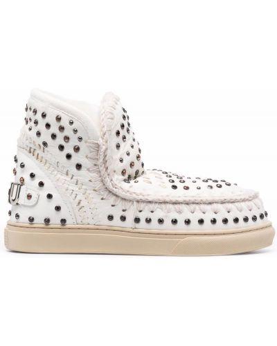 Белые кожаные ботинки Mou