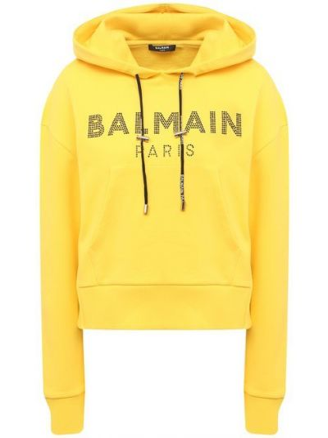 Худи со стразами - желтое Balmain