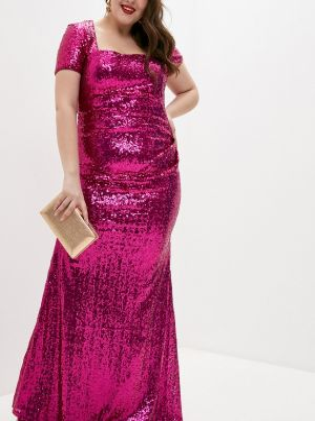 Розовое вечернее платье Goddiva Size Plus