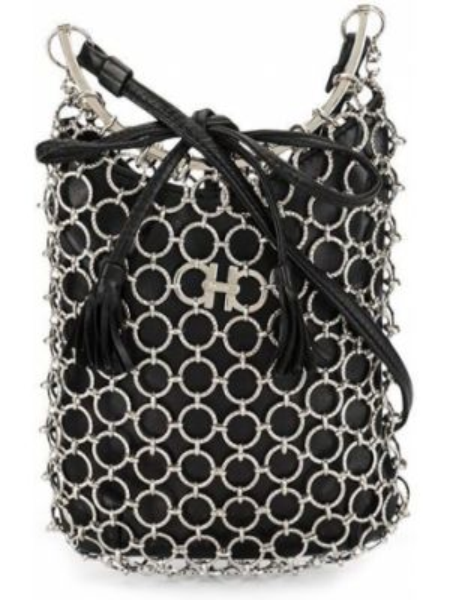 Кожаная черная сумка на цепочке с кисточками Salvatore Ferragamo Pre-owned