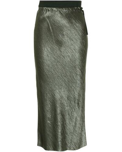 Сатиновая зеленая юбка миди Ann Demeulemeester