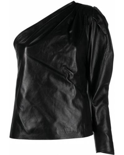 Асимметричный черный кожаный топ Manokhi
