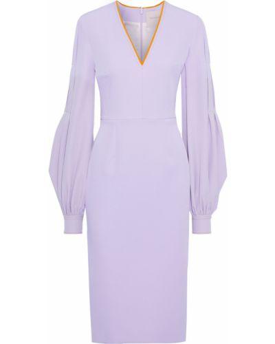 Fioletowa sukienka zapinane na guziki Roksanda