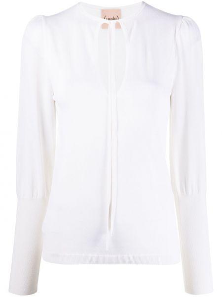 Белый свитер в рубчик из вискозы с круглым вырезом Nude