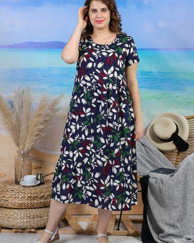 Платье свободного кроя из штапеля с принтом с оборками виотекс