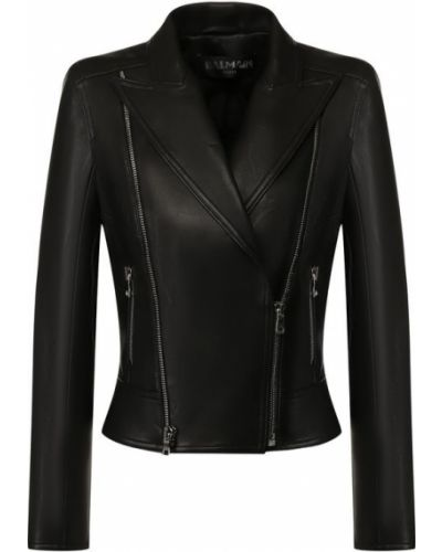 Кожаная куртка черная на молнии Balmain