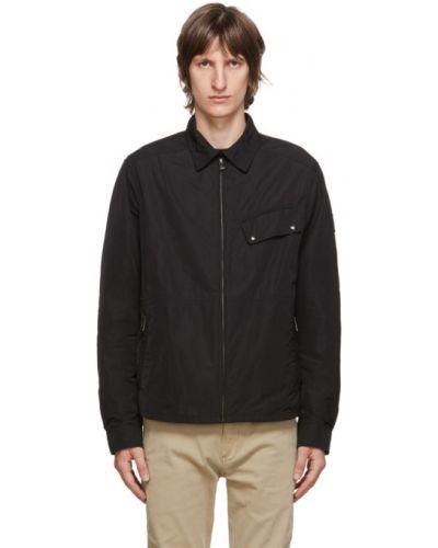 Czarny długa kurtka z mankietami z długimi rękawami z kieszeniami Belstaff