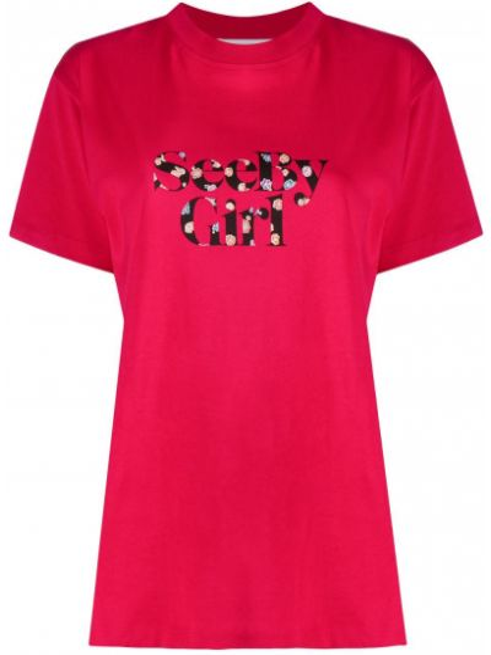 Хлопковая розовая прямая футболка с круглым вырезом See By Chloé