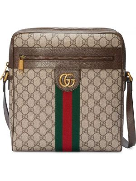 Мерцающая кожаная сумка через плечо Gucci