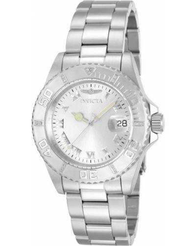 Со стрелками серебряные часы водонепроницаемые с бриллиантом Invicta