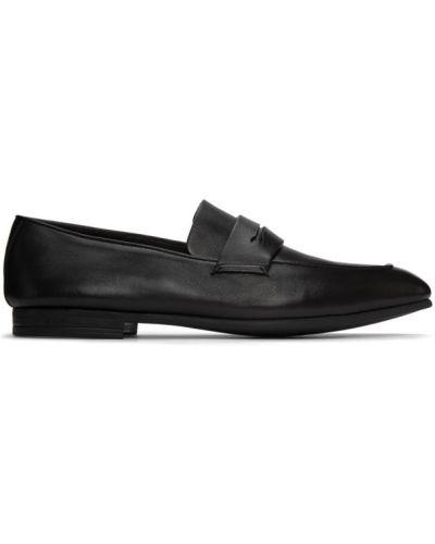 Czarny loafers z prawdziwej skóry kaskada z aplikacjami Ermenegildo Zegna