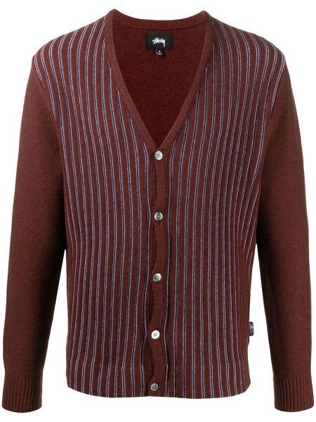 Bawełna bawełna brązowy kardigan z długimi rękawami Stussy