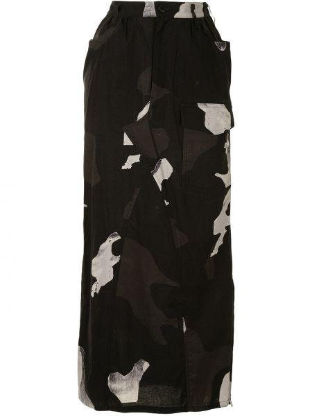 Хлопковая с завышенной талией черная юбка с карманами Yohji Yamamoto