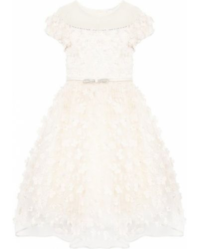 Платье с рукавами из фатина с пайетками Monnalisa