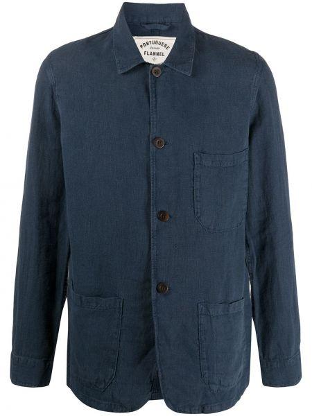 Фланелевая синяя куртка на пуговицах с карманами Portuguese Flannel