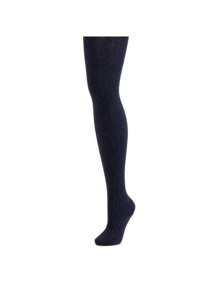 Prążkowane niebieskie rajstopy bawełniane Falke
