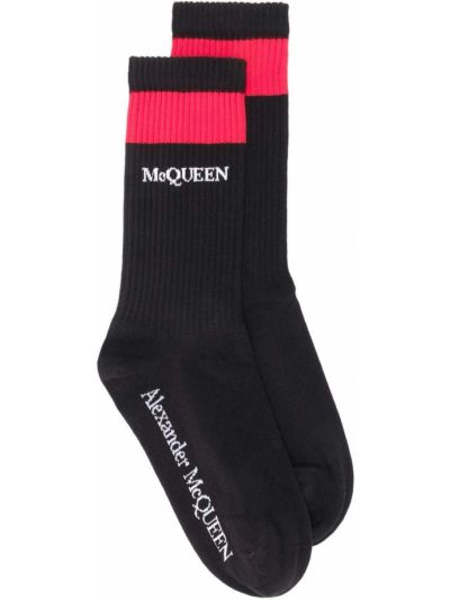 Черные хлопковые носки в рубчик Alexander Mcqueen