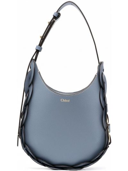 Niebieski skórzany torba na ramię z kieszeniami Chloe