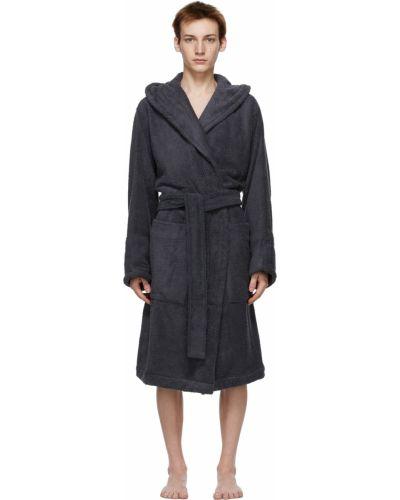 Czarny długi szlafrok bawełniany z kapturem Tekla