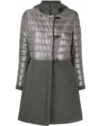 С рукавами прямое серое пальто классическое со вставками Fay
