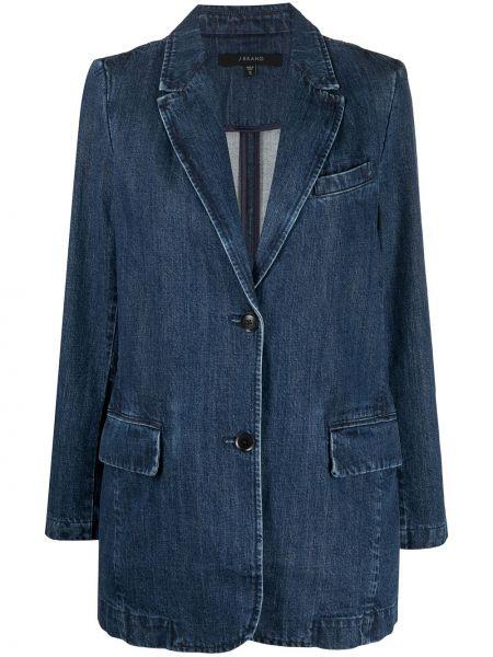 С рукавами синий удлиненный пиджак с карманами J Brand